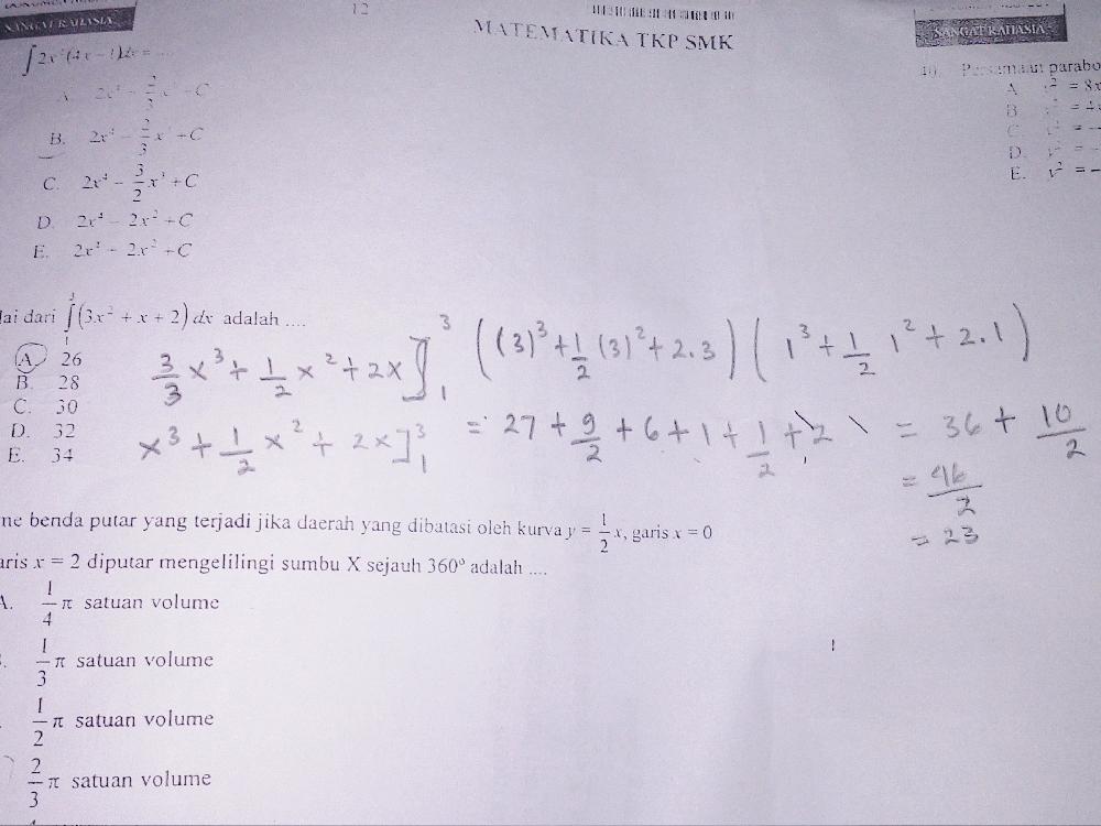 Bantuin dong yang bisa soalnya aku udang ngerjain dan hasilnya gk ada di option nya tentang integral
