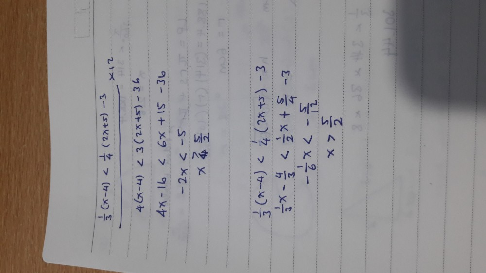 Hai, sepertinya soalnya salah deh.. soalnya dengan 2 cara jawabannya tetap sama yaitu x>5/2. Sedangkan di pilihan jawaban semua jawabannya negatif, yaitu lbh kecil daripada 5/2