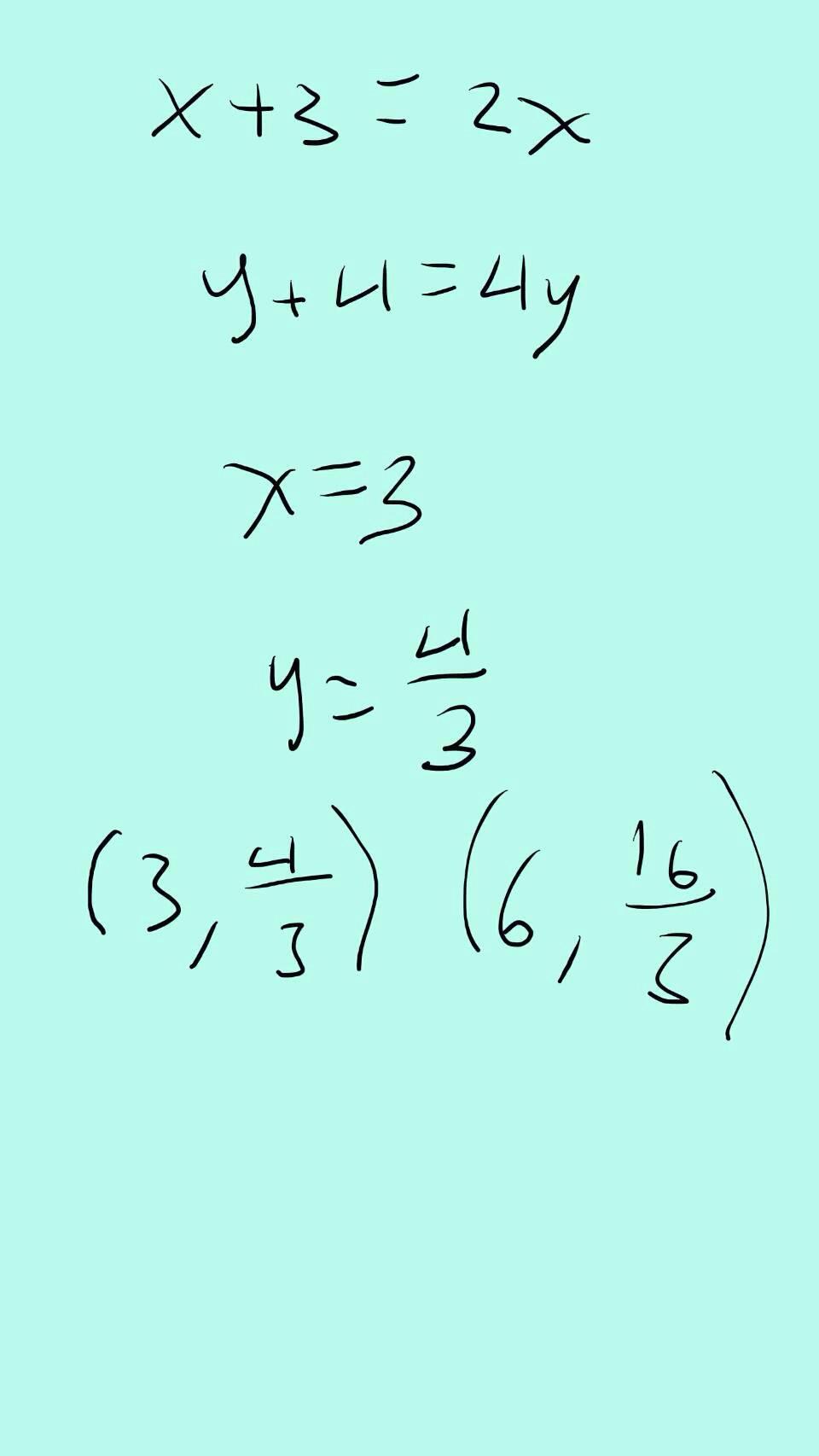 karena x ditranslasikan 3 dan koordinatnya menjadi 2x, jadi x+3=2x Dari situ,  3=2x-x x=3 Lalu, karena y ditranslasikan 4 dan koordinatnya menjadi 4y, jadi y+4=4y Dari situ, 4=4y-y 4=3y y=4/3 Jadi, koordinat C adalah (3, 4/3) dan C' adalah (6,16/3) karena x dikali 2 dan y dikali 4.