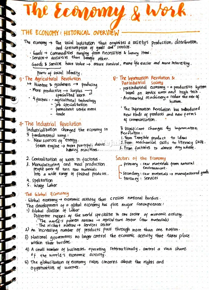 Gambar 1 Catatan The Economy & Work - Sosiologi SMA / SMK