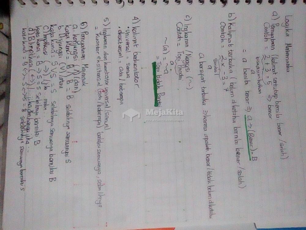Gambar 1 Catatan Logika matematika - Matematika SMA / SMK