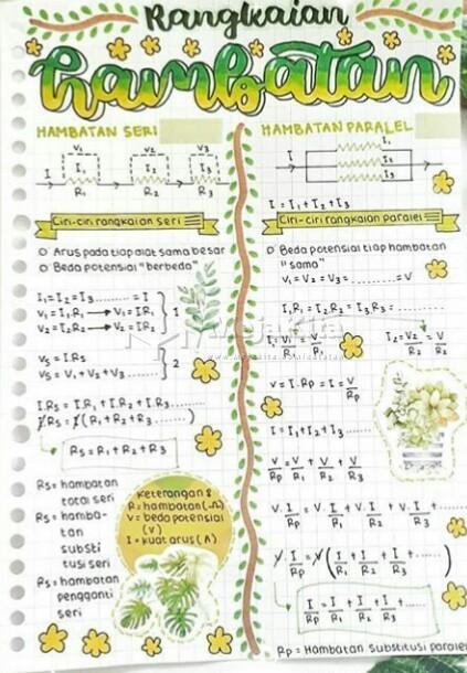 Gambar 1 Catatan Rangkaian Hambatan  - Fisika SMP